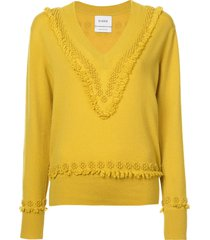barrie romantic timeless cashmere v-neck pullover - yellow