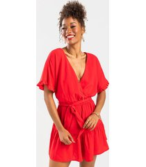 bionca tiered ruffled romper - red