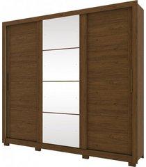 guarda roupa henn payson 03 portas deslizantes c/ 01 espelho castanho hp