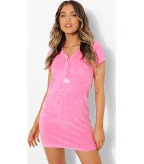 ofcl badstoffen pyjama jurk met knopen en geweven label, pink