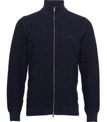 d1. cotton texture fullzip gebreide trui cardigan blauw gant