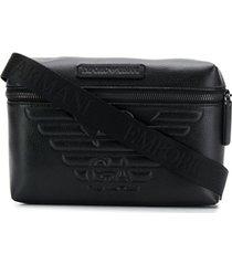 emporio armani bolsa com logo gravado - preto