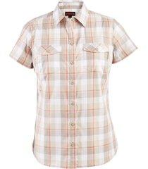 wolverine women's brook short sleeve shirt taupe plaid, size m