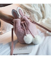 buco delle donne simpatico coniglio fluffy bucket borsa crossbody borsa