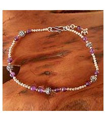amethyst anklet, 'mystical muse' (india)