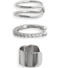 women's sterling forever simple 3-pack ear cuff set