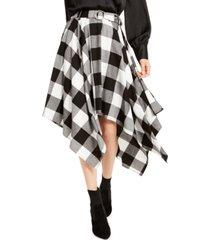 bar iii buffalo check handkerchief-hem skirt, created for macy's