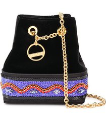 emilio pucci embellished satin bonita mini bucket bag - black