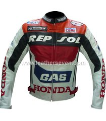 men mens honda gas repsol cowhide leather motorcycle motorbike biker jacket
