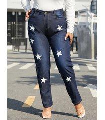 bolsillo de estrella de talla grande diseño botón diseño pantalones