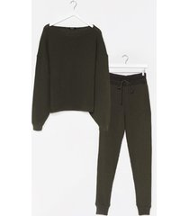 womens knit happens sweater and joggers lounge set - khaki