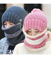 cappello da donna lavorato a maglia invernale più caldo e sciarpe con colletto collo con cappello pompon in pelliccia artificiale