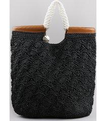 bolsa feminina salinas shopper grande com palha crochê preto