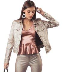 chaqueta adrissa manga larga con doble pespunte en metalizado dorado