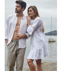 pijama masculino l'acqua linho longo m  muguet home - incolor - masculino - linho - dafiti