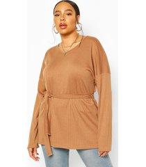 plus soft rib knit sweater, camel