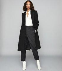 reiss maddie - wool blend longline coat in charcoal, womens, size 10