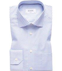 eton overhemd blauw geruit classic fit