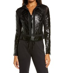 women's blanc noir quilted snake embossed faux patent leather & mesh moto jacket