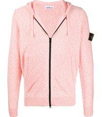 stone island contrast zip hoodie - orange