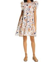women's ulla johnson eden floral print flutter sleeve cotton dress, size 12 - white