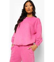 petite acid wash gebleekte oversized sweater met tekst, bright pink