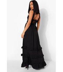 geplooide maxi jurk met laagjes en rug strik, black