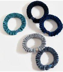 kendra velvet covered hair tie set - navy