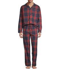 black brown 1826 men's 2-piece madras plaid cotton pajama set - navy red - size l