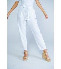 pantalon adrissa blanco en lino