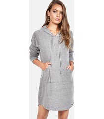 erwin hoodie dress - s heather grey