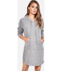 erwin hoodie dress - m heather grey