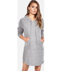 erwin hoodie dress - xs heather grey