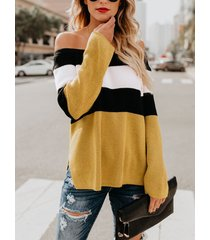 yellow color block off the shoulder sweater