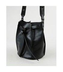bolsa feminina bucket média transversal texturizada cobra preta