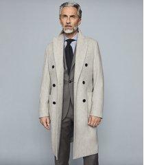reiss omero - wool mid length coat in oatmeal, mens, size xxl