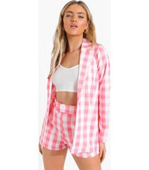 gingham blazer en shorts met ceintuur, pink