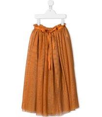 anja schwerbrock belted tulle midi skirt - orange