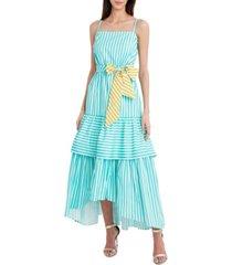 bcbgmaxazria striped tie-front maxi dress