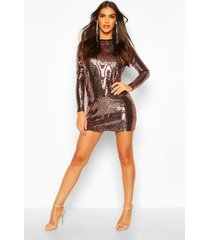 backless mini shift dress in sequin, rose
