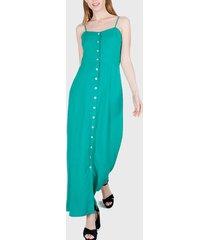 vestido io largo lino verde - calce holgado
