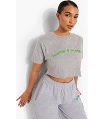 kort healthy & wealthy t-shirt, grey marl