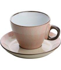 conjunto 4 xícaras porcelana para chá com pires rosa 200ml