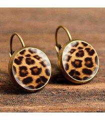 orecchini con stampa leopardo retrò con gemme pendenti e orecchini gioiello per le donne