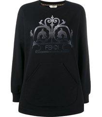 fendi embroidered ff logo sweatshirt - black