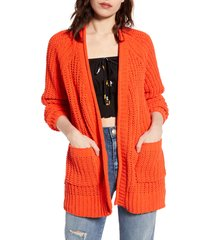 women's billabong warm up chenille cardigan, size small - orange