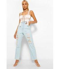 extreem gescheurde mom jeans, lichtblauw