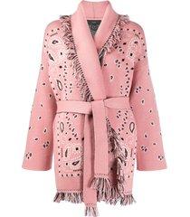 alanui bandana jacquard long cardigan - pink