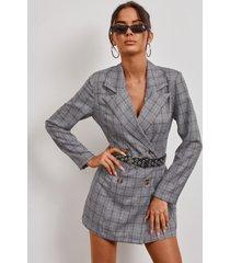chaqueta de manga larga con cuello de solapa a cuadros gris yoins