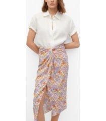 mango women's knot printed skirt